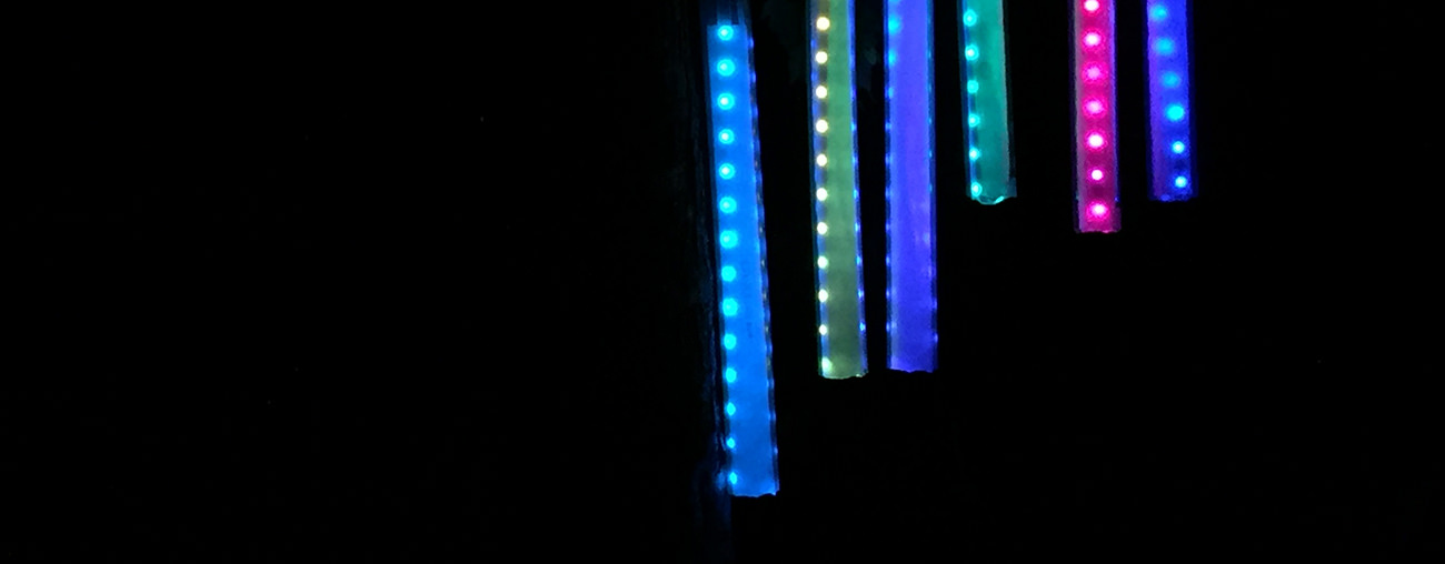 Colored tubes of LED lights